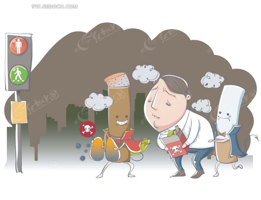 卡通人物插画-抽烟胃痛的领导