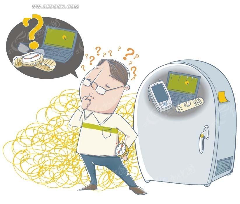 免费素材 矢量素材 矢量人物 卡通形象 > 卡通人物插画 冰箱上的电脑