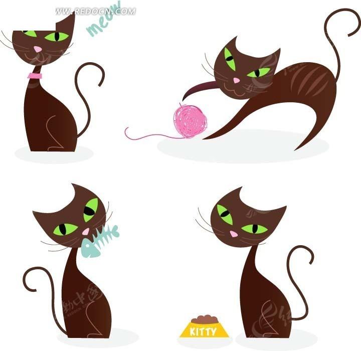 卡通动物插画 吃食和玩毛线球的小猫