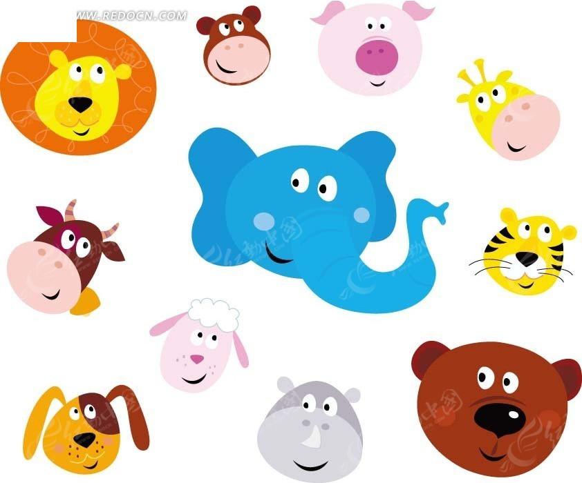免费素材 矢量素材 矢量人物 卡通形象 卡通动物头像 大象狮子小狗
