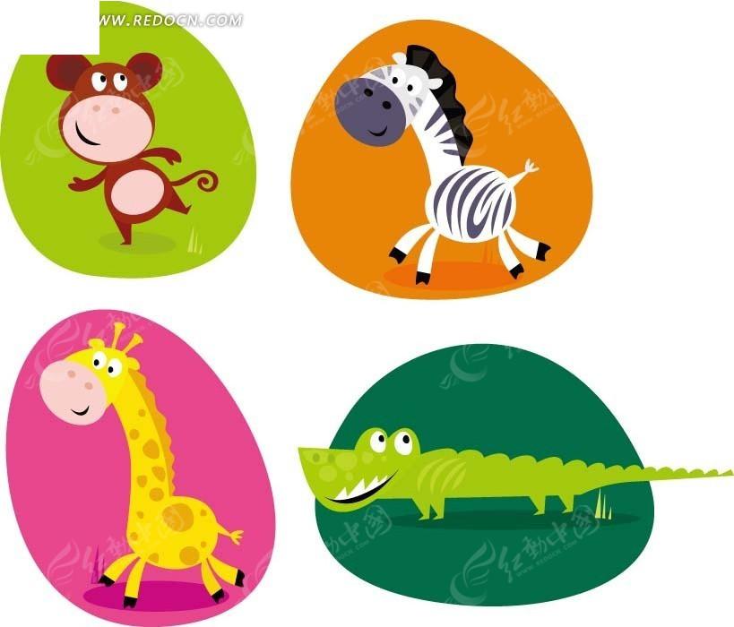 卡通动物插画 彩块内的猴子斑马长颈鹿和鳄鱼