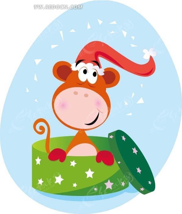 卡通画—绿色盒子里戴帽子的动物