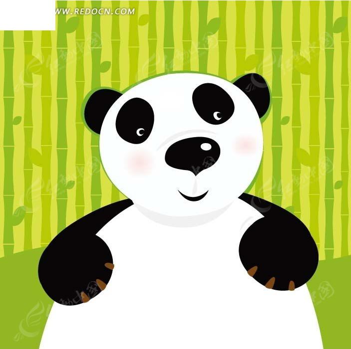 卡通画—竹子前的熊猫