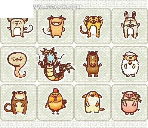 卡通动物插画 卡通十二生肖