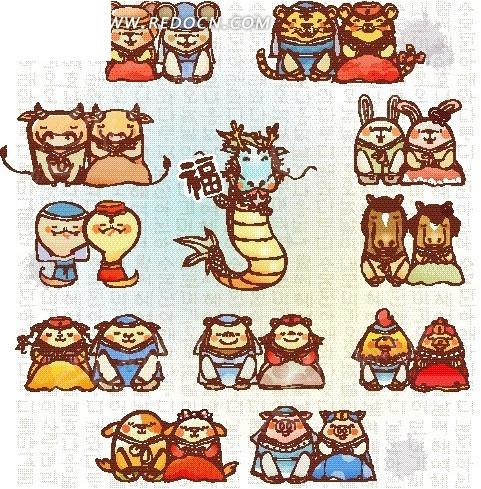 十二生肖 龙 动物  鼠 牛 虎 兔 龙 蛇 马 羊 猴 鸡 狗 猪 卡通动物