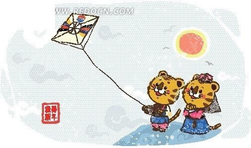 卡通画 放风筝的老虎EPS素材免费下载 编号2025045 红动网图片