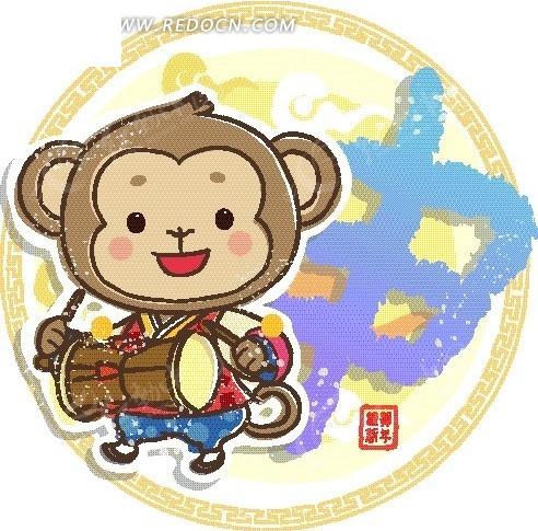 卡通十二生肖-申猴