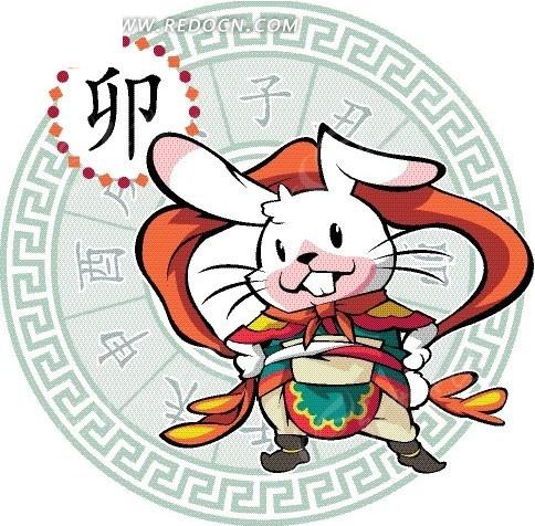 卡通十二生销八卦图-舞动红色飘带的兔子
