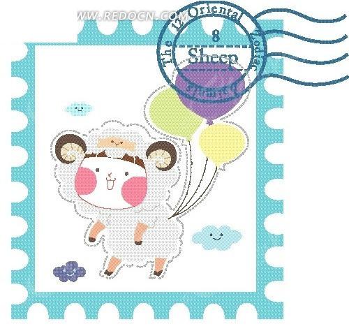 卡通插画——可爱小绵羊和气球底纹邮票设计