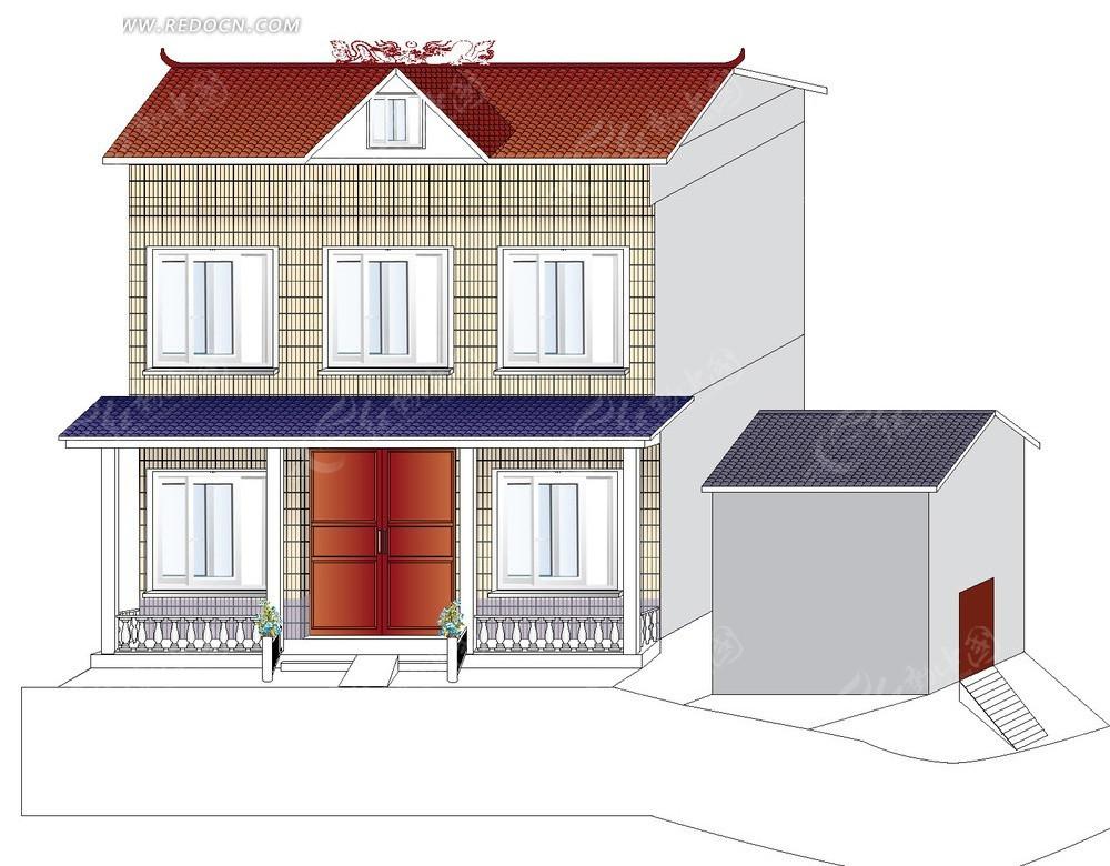 农村自建房屋  建筑设计 建筑图片 矢量素材