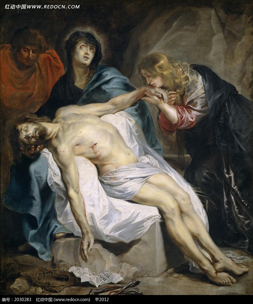 绘画作品 男士 金发美女/绘画作品/躺着的胸口受伤的男士和伤心的金发美女
