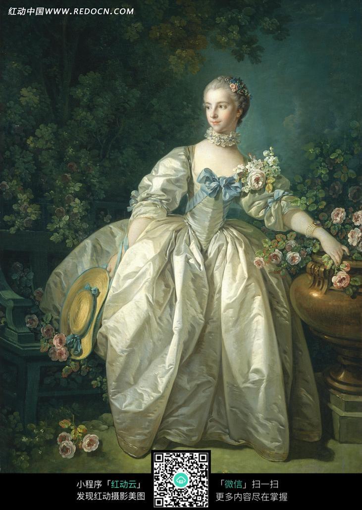 色花朵穿着白色裙子的美女图片
