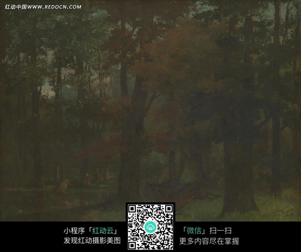 绘画作品-宁静阴暗树林内一头奔跑的鹿