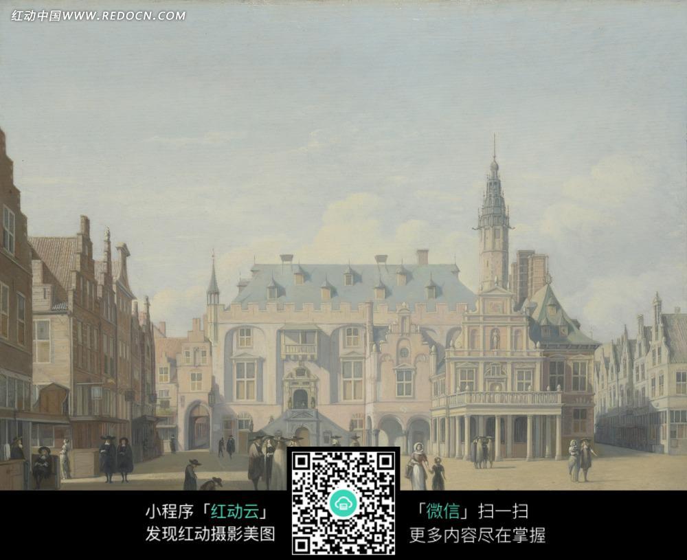 绘画作品-尖顶建筑前广场上的人群图片