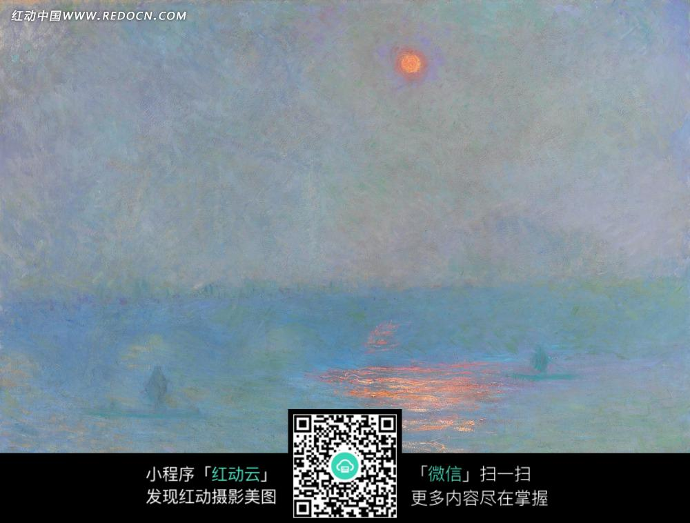 绘画作品-夜晚天空中的月亮和大海上的月光图片