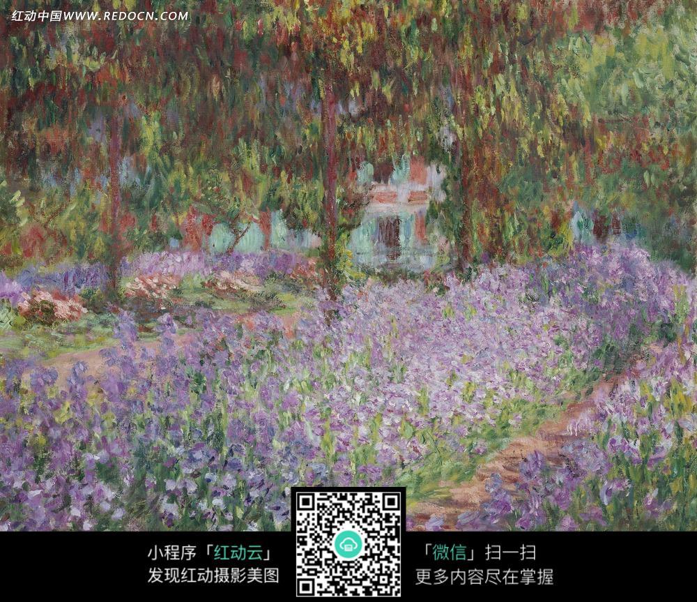 绘画作品-开着紫色花朵的花坛和树木图片