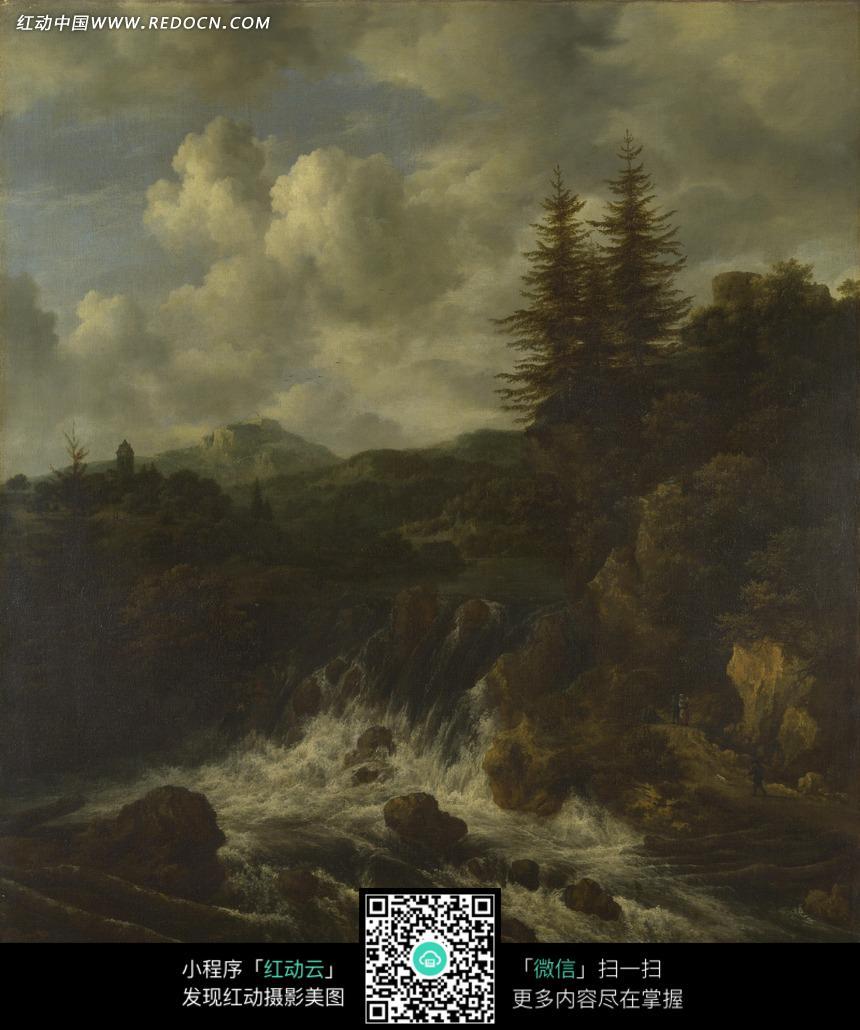 乱石 石头 树林 树木 植物 风景画 油画 绘画  绘画作品  西方艺术