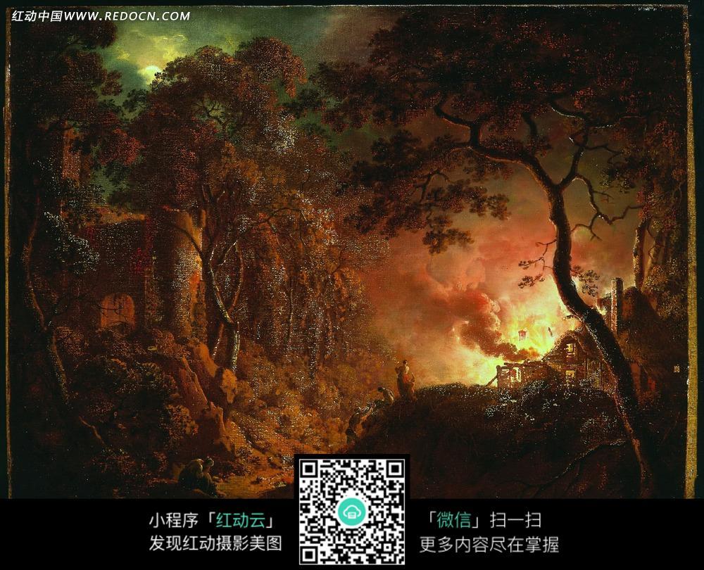 绘画作品-着火的树林