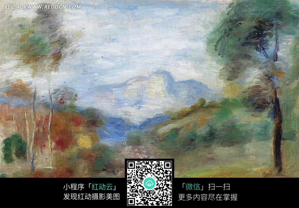 绘画作品-彩色的树林和朦胧的远山图片