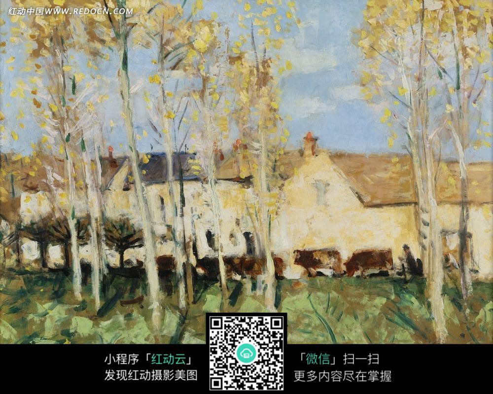 绘画作品-白色房子后草地上的树木图片