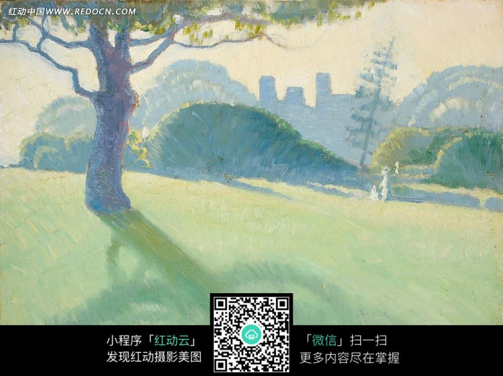 绘画作品-草地上的树木和影子图片