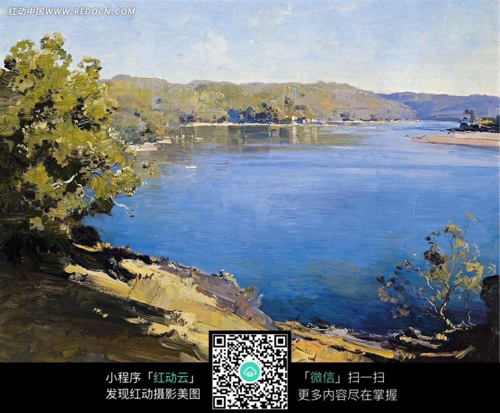 绘画作品-蓝色的河流和河边山坡上的树林图片