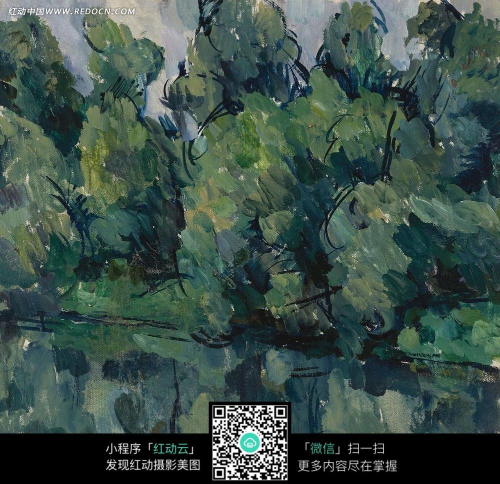 绘画作品-河边茂盛的树林和水中的倒影图片