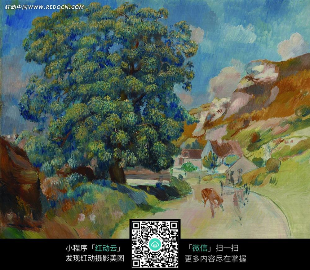 绘画作品 路边的高大美丽树木和道路上的行人