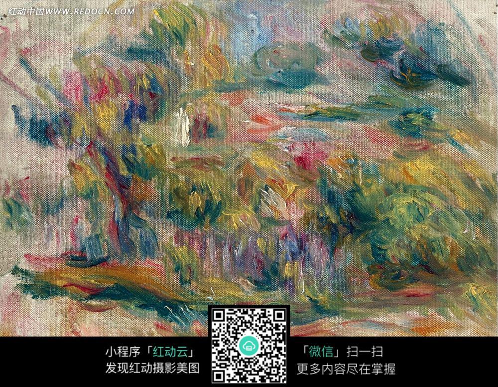 绘画作品-山坡上的彩色树林图片