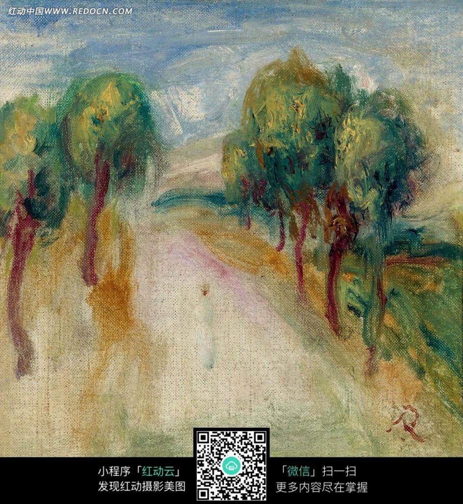 绘画作品-道路上的一位行人和路边的树木