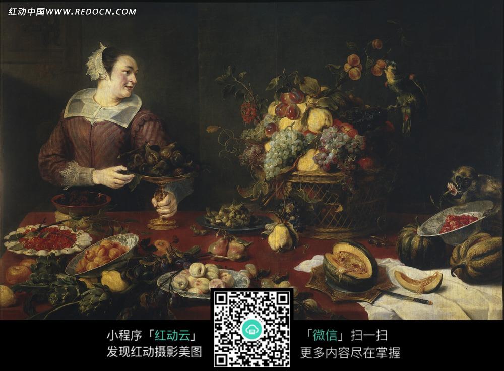 绘画作品-桌子上的水果花朵和一位妇女图片