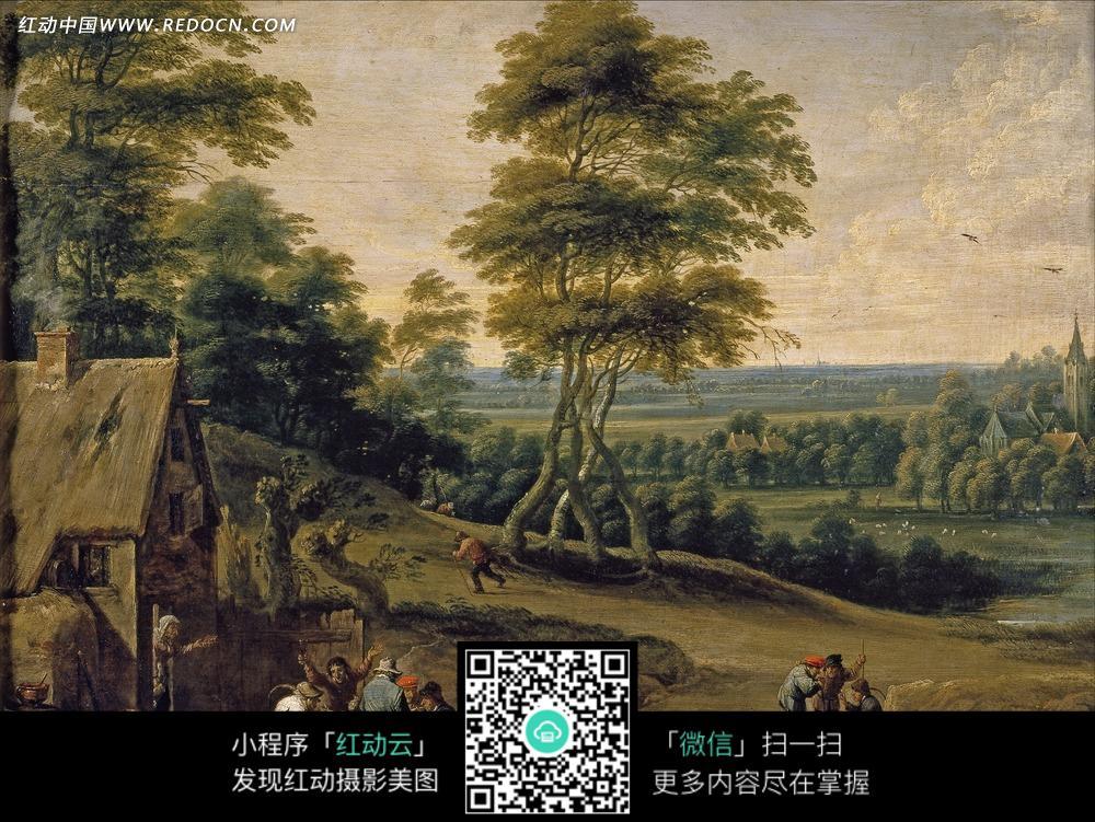 绘画作品-树林中的高大树木房屋和居民