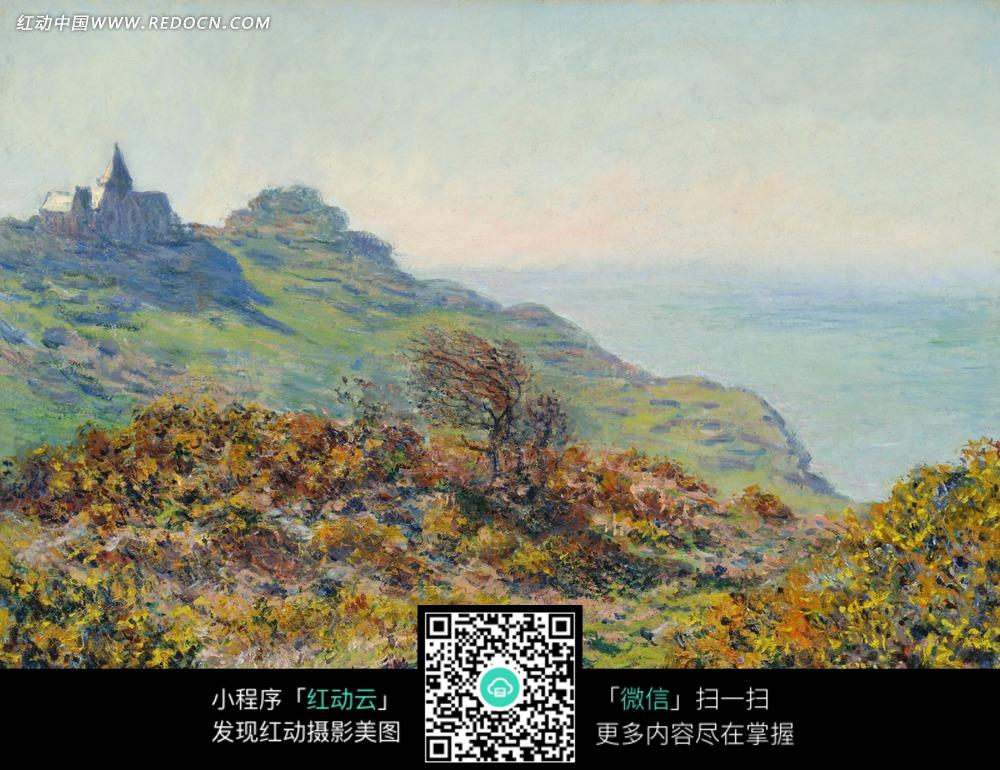绘画作品-海边大山上的建筑和黄色树林