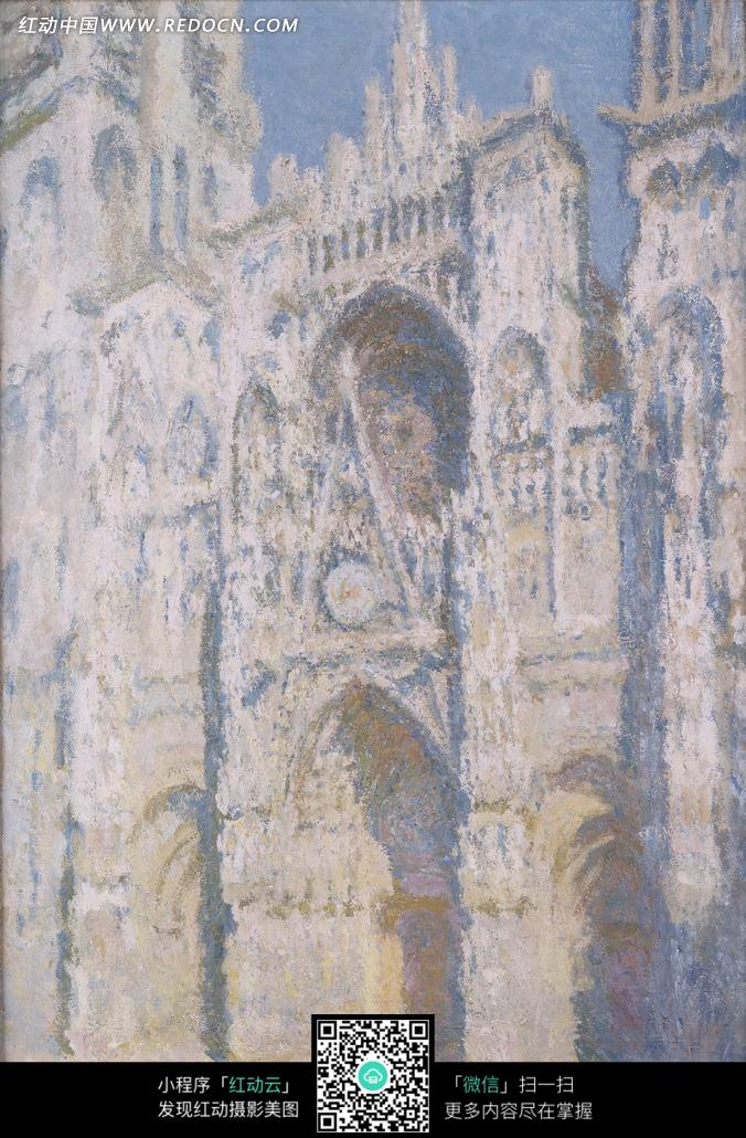 免费素材 图片素材 文化艺术 书画文字 绘画作品-白色欧式高大教堂