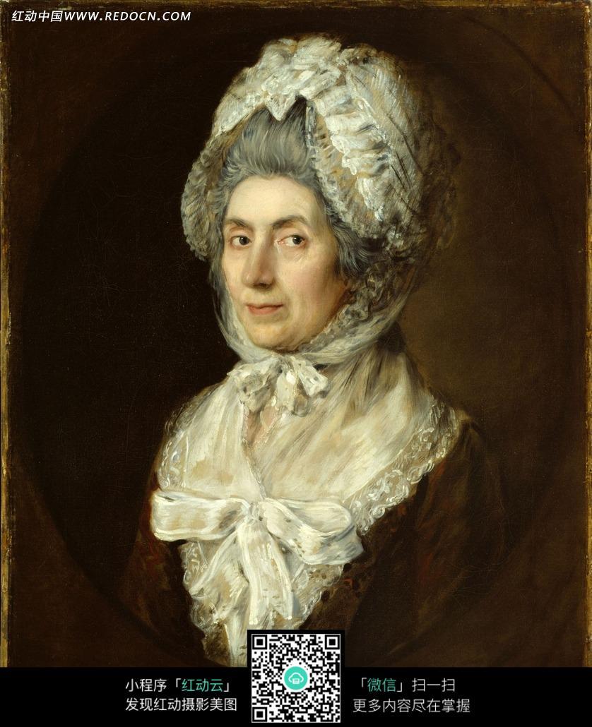 贵妇半身肖像欧洲油画