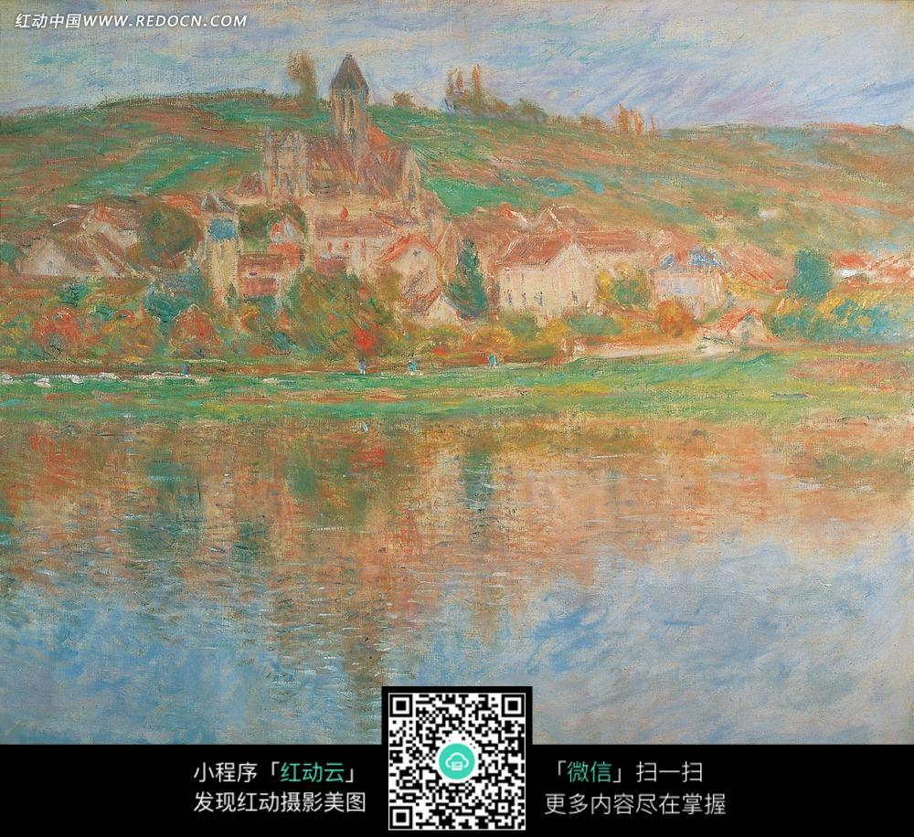 绘画作品-湖边山脚下的彩色房屋
