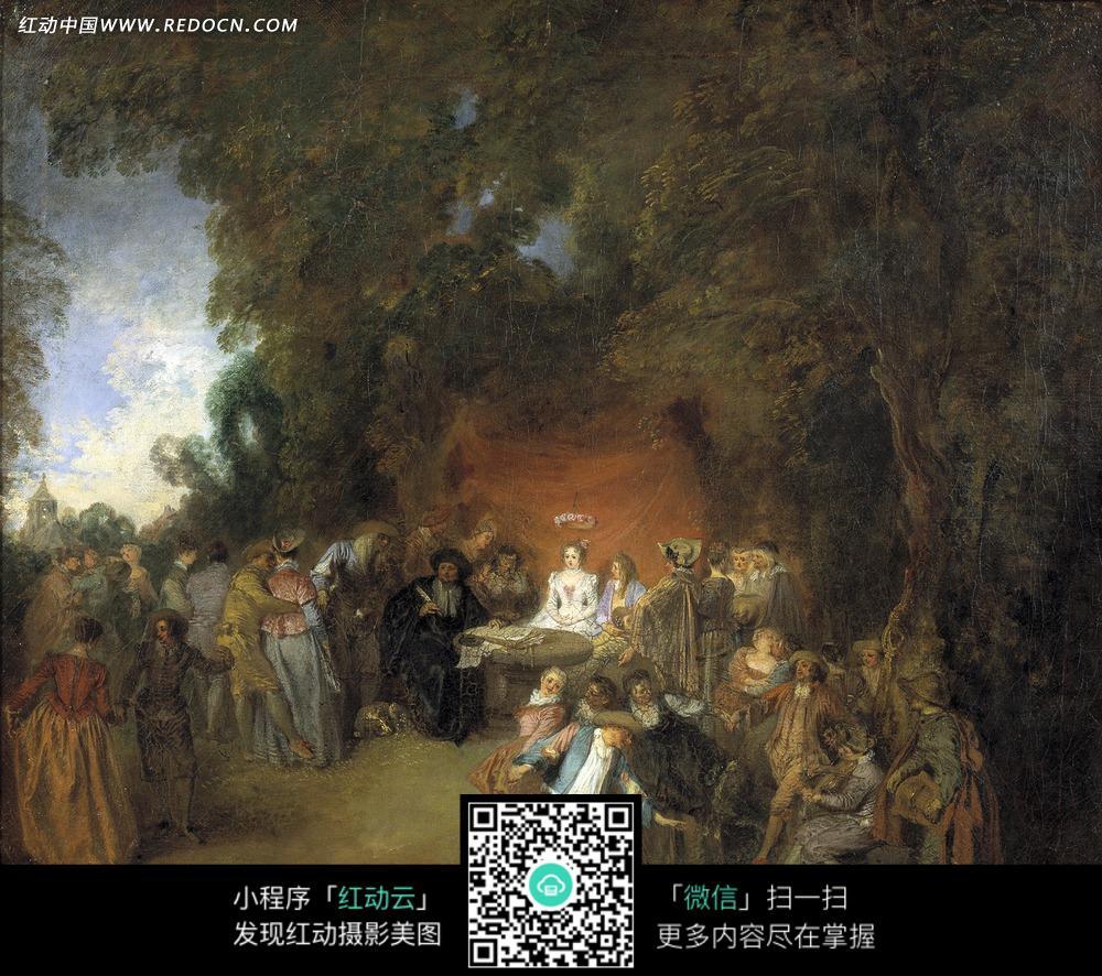 油画—树木下的古代欧洲人图片