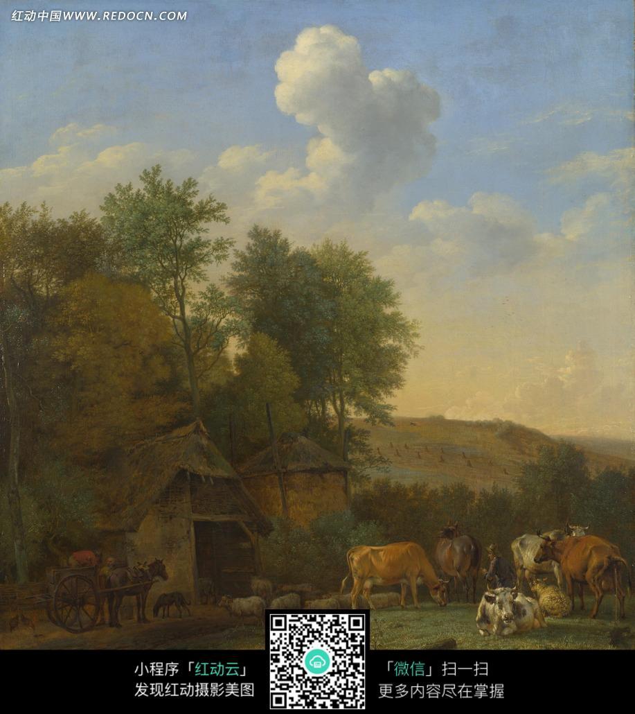 油画—天空下的绿树房屋和动物图片
