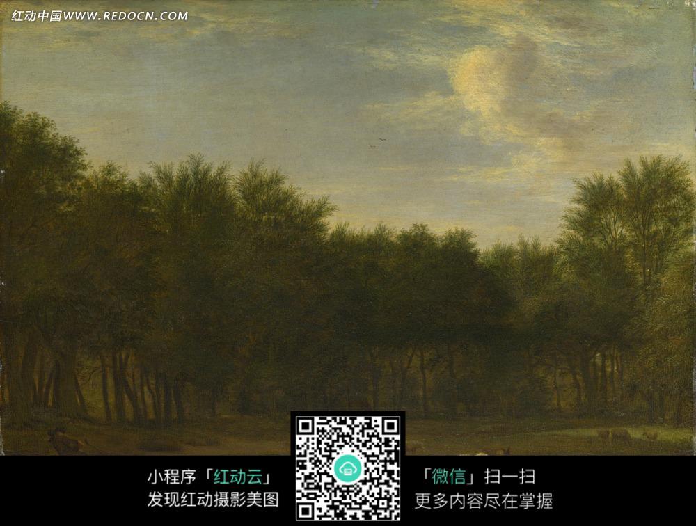 羊群 树林 空地 动物 油画 绘画  绘画作品  西方艺术 书画