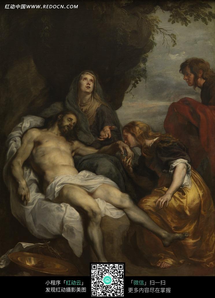 色布料上躺着的男士和仰望天空的男士图片