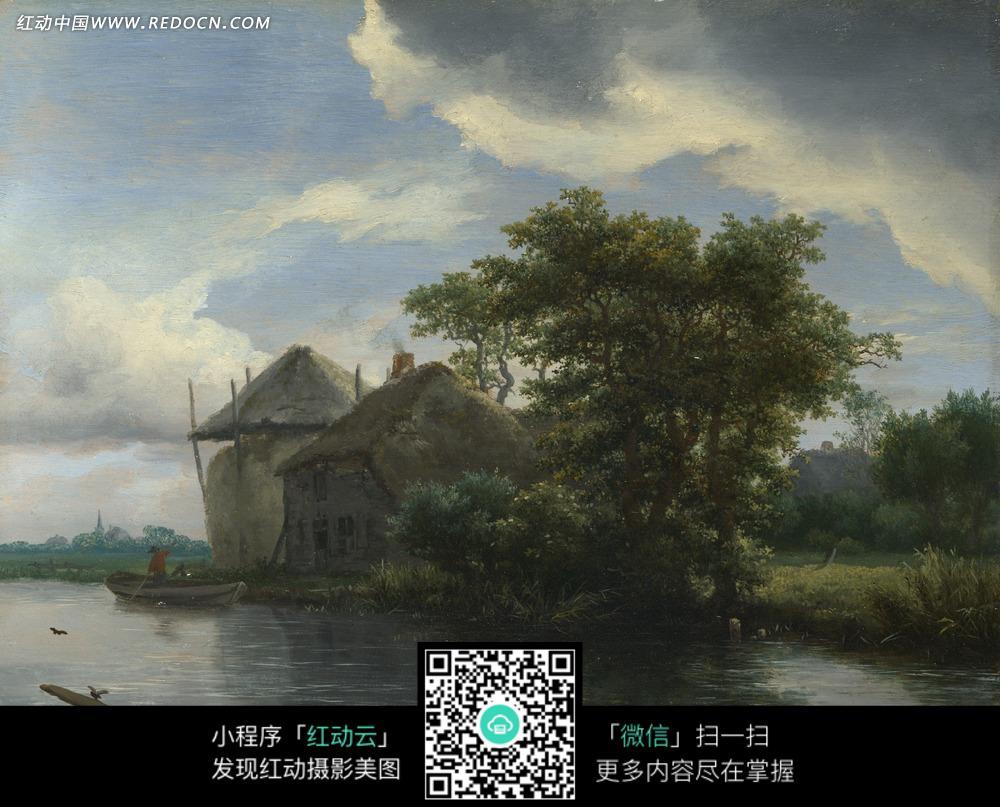 绘画作品-河边的树木和房屋