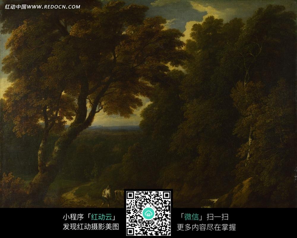 绘画作品-树林中的高大树木和牵着牛的人图片