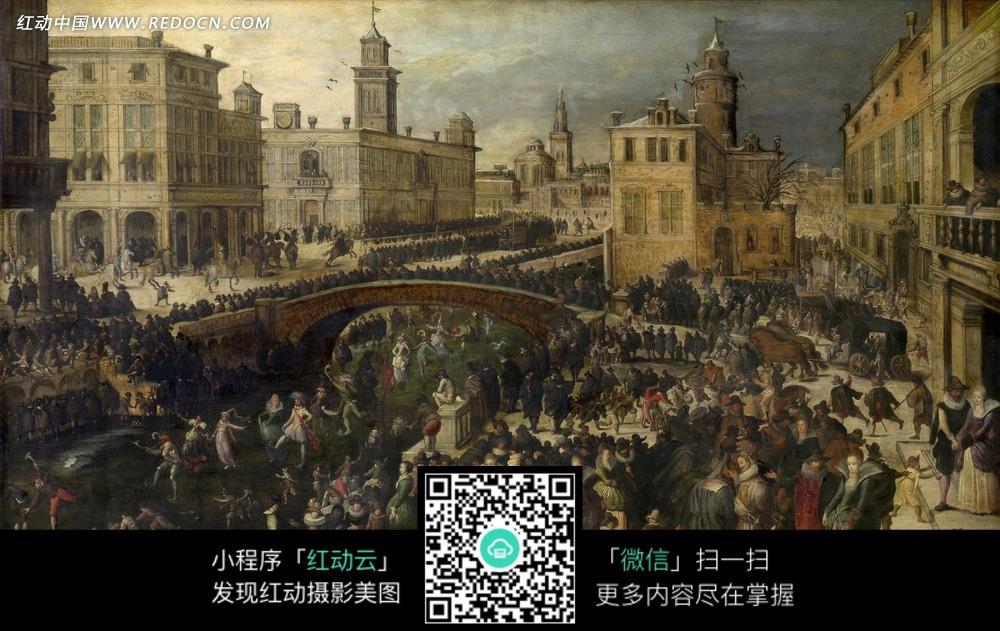 绘画作品-河道中跳舞的人群和岸上拥挤的行人
