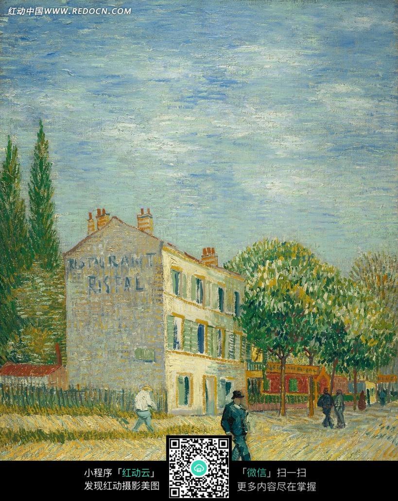 绘画作品 街道上的行人和道路边的建筑绿树图片免费下载 编号2035259 红动网图片