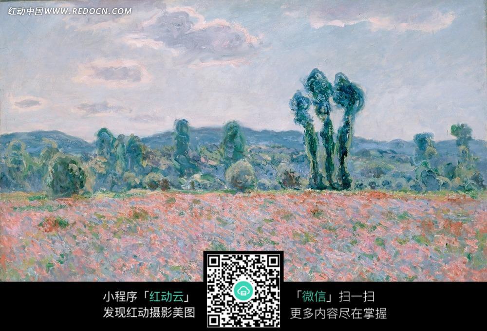 免費素材 圖片素材 文化藝術 書畫文字 繪畫作品-樹林邊草地上的粉色