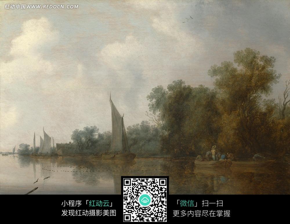 绘画作品-河流上的白色帆船和河边树林图片