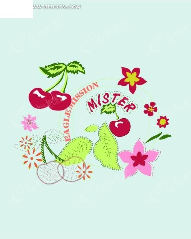 樱桃树叶和花朵图片