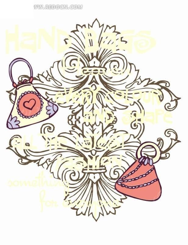 矢量印花图案-花纹包包对称欧式花纹矢量图免费