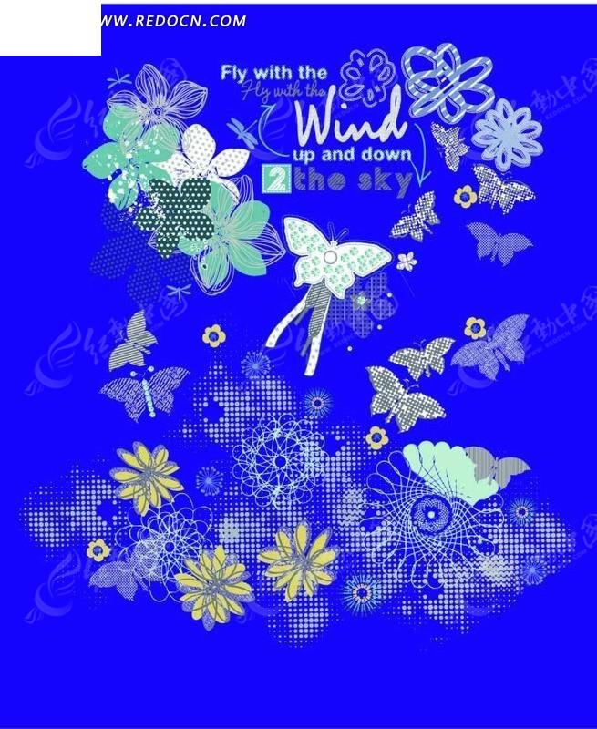 矢量印花图案-花朵叶子蝴蝶