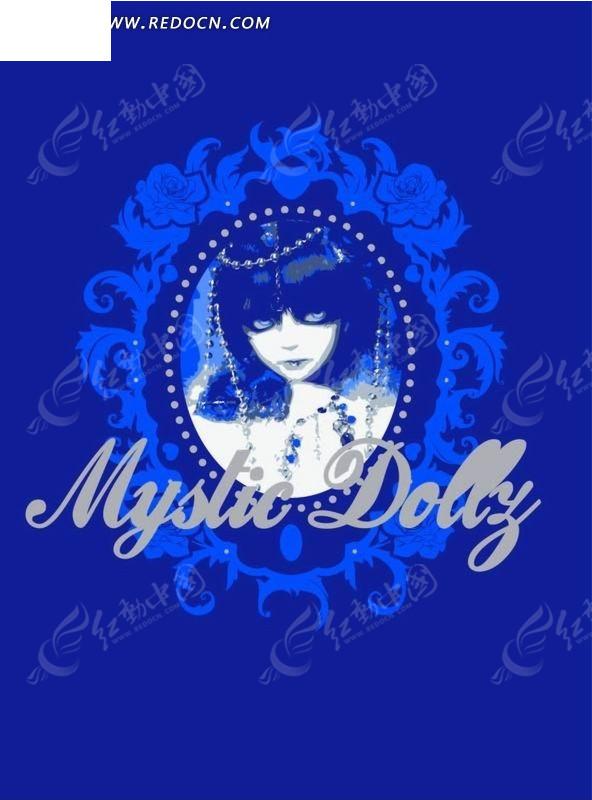 欧式蓝色花纹 镜子 美女 图形标识 手绘 插画 卡通 漫画 印花图案
